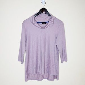 W5 Lilac Purple Ribbed Cowl Neck 3/4 Sleeve Top